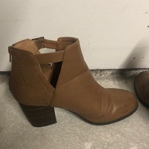 Qupid Shoes - Brown Leather Cutout Booties